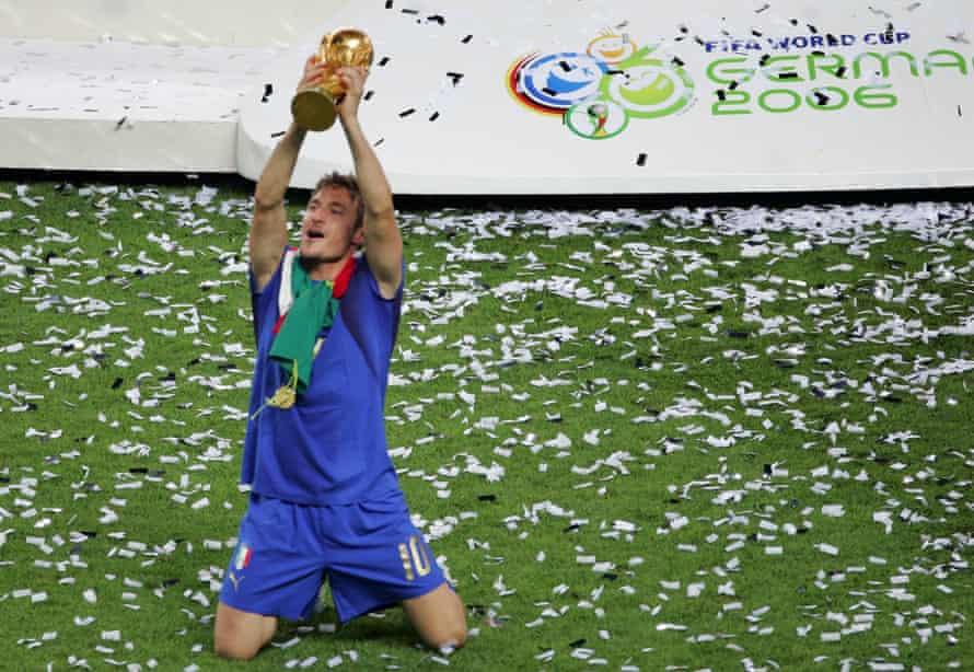 Francesco Totti celebrates winning the World Cup in 2006,