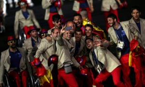 Athletes from Spain take a selfie.