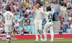 Australia's Josh Hazlewood is congratulated by Matthew Wade but are their celebrations premature?