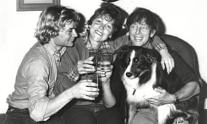 John Noakes and wife Vicky and member of their crew Ben Sharp at John's home after their shipwreck celebrating