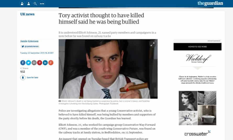 The Guardian's original report of the death of Elliot Johnson