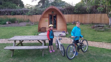 Joe and Bethan Lerwill outside the YHA camping pod, 'the cosiest den ever'.