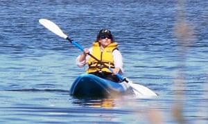 Amanda Nally in her blue kayak in New Zealand.