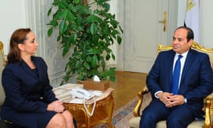 The Egyptian president, Abdel-Fattah el-Sissi, right, meets Mexico's foreign minister, Claudia Ruiz Massieu, at the Presidential Palace in Cairo.