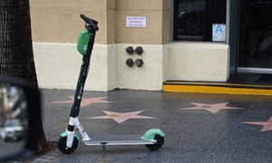 A Lime scooter is seen on Hollywood Blvd.