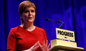 Nicola Sturgeon speaks on the final day of the SNP conference in Glasgow.