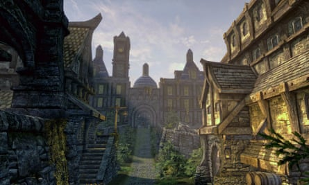 A view of the Blue Palace in the city of Solitude