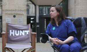 Rachel Clarke demonstrates outside the Department of Health in April 2016