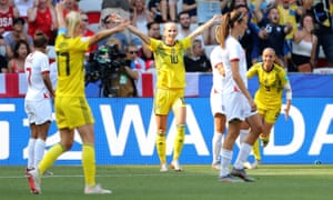 Sofia Jakobsson (centre) took Sweden to 2-0 up midway through the first half before England threatened to come back