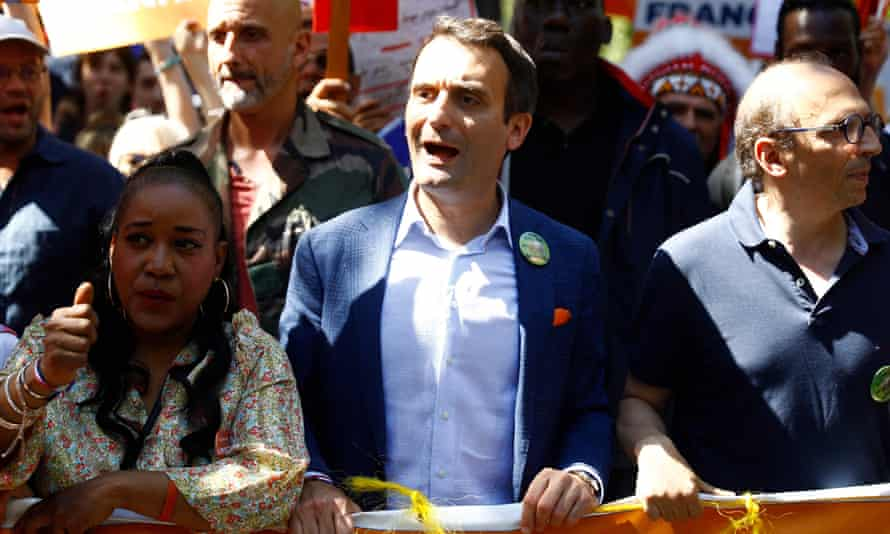 Florian Philippot, the leader of nationalist party Les Patriotes, at a demonstration in Paris on Saturday