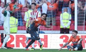 Yan Dhanda celebrates Swansea's second goal.