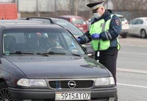 Traffic police officers on the Altufyevskoye highway