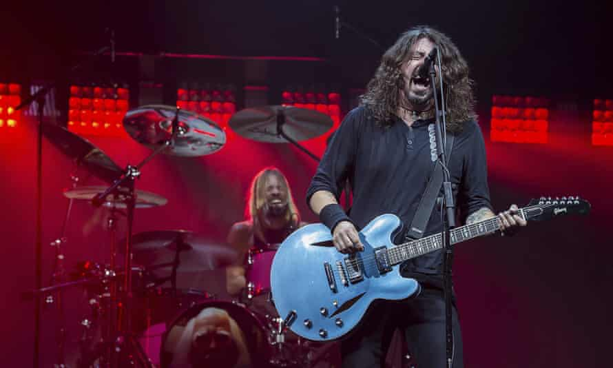 Taylor Hawkins and Dave Grohl during Foo Fighters' set on Saturday.
