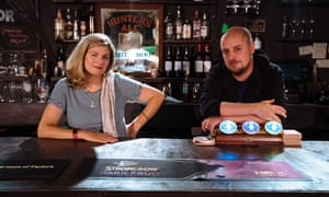 Anna Jordan and Chris Sonnex, the writer and director of We Anchor in Hope, at the Bunker, London.