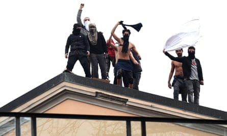 Prisoners at the San Vittore prison protest on the roof against their treatment during the coronavirus outbreak in Milan, Italy, this week.