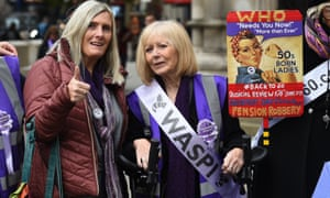 Pension campaigners outside the Royal Courts of Justice in London.
