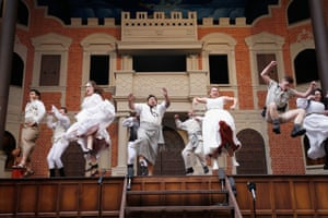 Actors perform on stage at the the Pop-up Globe theatre in Melbourne.