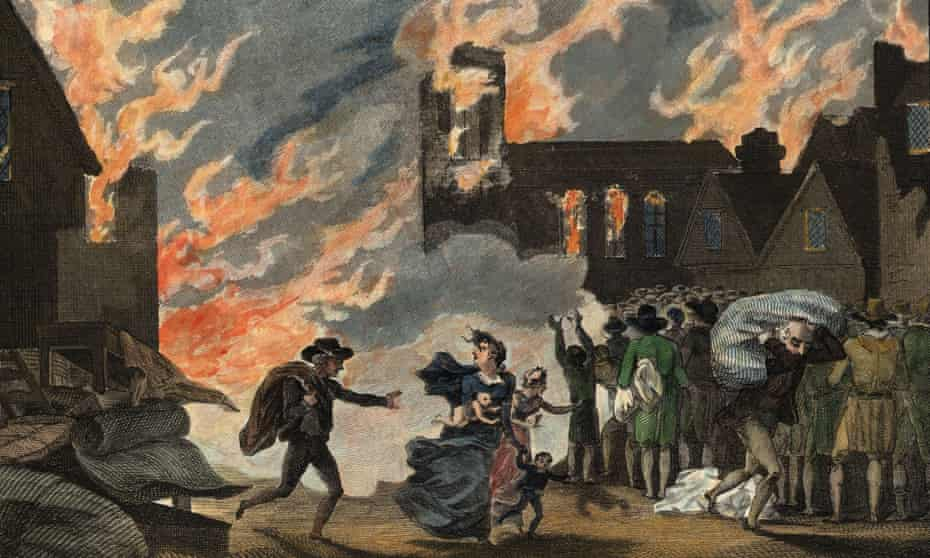 Fleeing the Great Fire of London, 1666 – an illustration from 1815.
