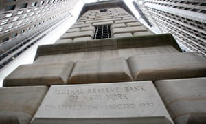 The Federal Reserve Bank of New York, where high level meetings were held in a last attempt to save Lehman Brothers, is photographed Sunday, Sept. 14, 2008. A failed plan to rescue Lehman Brothers was followed Sunday by more seismic shocks from Wall Street, including an apparent government-brokered takeover of Merrill Lynch by the Bank of America. (AP Photo/David Karp) USA banking crisis credit crisis