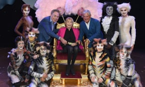Andrew Lloyd Webber, Dame Gillian Lynne and Cameron Mackintosh surrounded by Cats dancers at the renaming event.