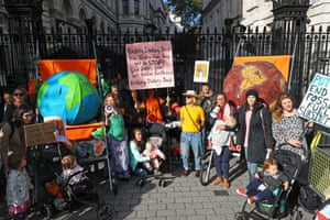 Downing Street, London: Mothers with their children in pushchairs during a protest organised by Mothers Rise Up, ahead of the UN Climate Action Summit