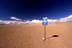 open-air latrine in Bolivia's Siloli Desert, a continuation of the Atacama Desert in Chile