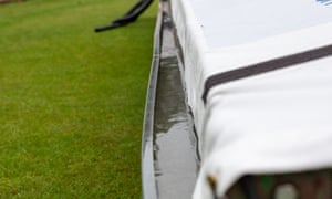 Water in the covers before the final day of the Bob Willis Trophy match between Leicestershire and Nottinghamshire.