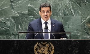 Yemen's foreign minister Ahmad Awad bin Mubarak addresses the 76th Session of the United Nations General Assembly.
