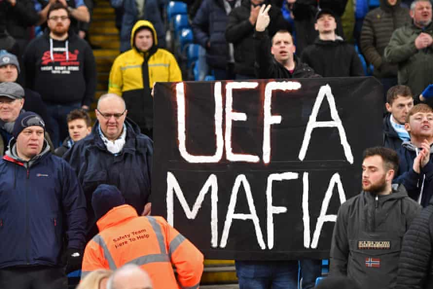 City fans stand display an anti-Uefa banner at the 2-0 win over West Ham.