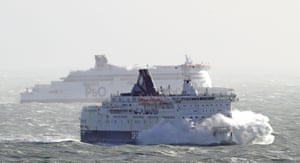 The DFDS Calais Seaways crashes through waves in the Channel