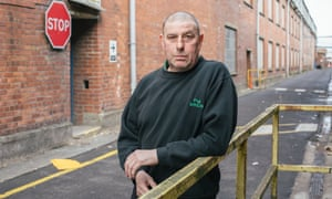 Raymond Pulis, a former Newport player, at the docks where he works there.