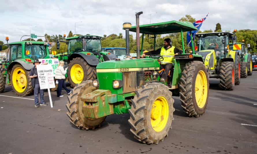 Farmers on tractors protest in Auckland, New Zealand, against environmental regulations they say are placing unfair costs on them.