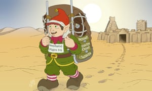 Waldemar the Elf sets off from Timbuktu. The puzzle is not about how he manages the heat but about how many helpers he needs.