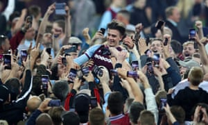 Jack Grealish enjoys the celebrations after Aston Villa beat Middlesbrough in the Championship play-off semi-finals. Villa lost the final to Fulham