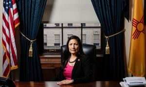 The New Mexico congresswoman Debra Haaland at her desk inside of her office at the Longworth office building in Washington DC.