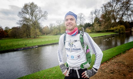 Dr Erlend Møster Knudsen, a Norwegian climate scientist who is running from Arctic Norway to Paris, on the Cambridge leg of his journey.