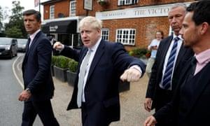 Boris Johnson campaigning in Oxshott, Surrey.