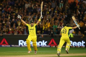 Shane Watson and Steve Smith celebrate as Smith's four gives Australia victory ...
