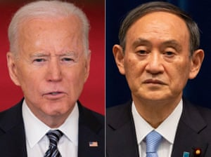 Joe Biden speaks on the Covid-19 pandemic, and right, Yoshihide Suga attends a press conference in Tokyo.