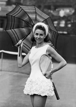 Italian tennis star Lea Pericoli was also a Tinling fan. Here she is pictured wearing a rose-trimmed tennis dress that he designed. The short hemline, along with the hairband, would have worked on Carnaby Street as much as on centre court.