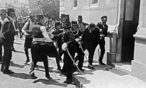This failed assassination attempt on the life of Archduke Franz Ferdinand was followed by a successful one, leading to the first world war.