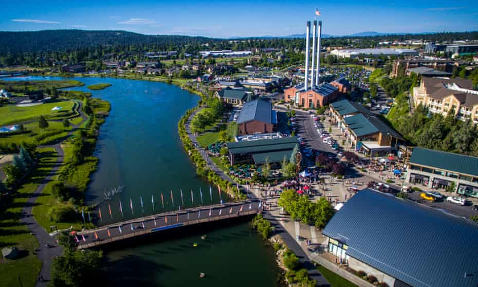 Aerial view of Bend's Old Mill district and the Deschutes river.