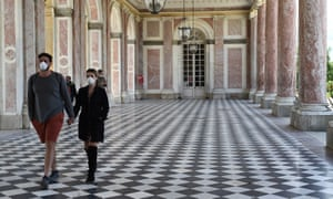 Visitors wearing protective face masks are seen in the Grand Trianon Palace as the Chateau de Versailles is reopened to the public since its closure on March 13, 2020 due to Covid-19 on June 06, 2020 in Versailles, France. Visitors wearing protective face masks are seen in the Grand Trianon Palace as the Chateau de Versailles is reopened to the public since its closure on March 13, 2020 due to Covid-19 on June 06, 2020 in Versailles, France.