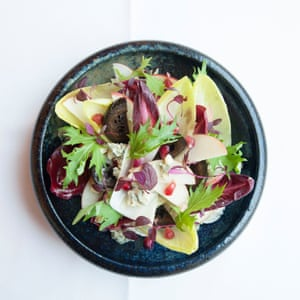 Brasserie of Light's roquefort salad with endive, pickled walnuts and apple