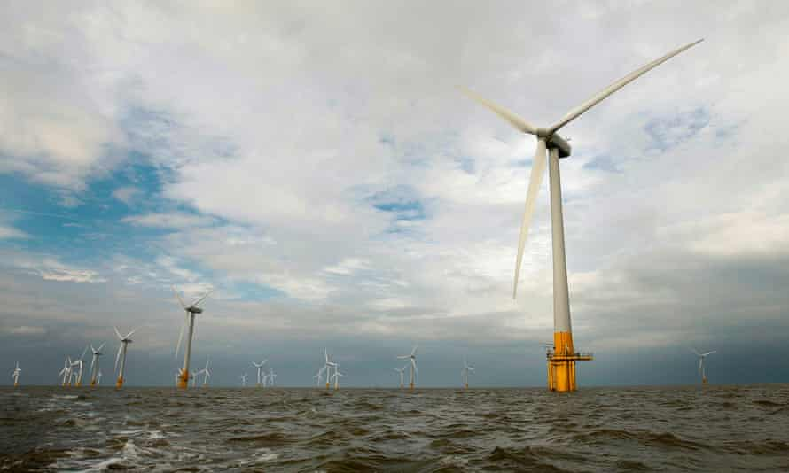 Wind turbines off the coast of Norfolk, in the east of England.
