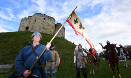 English Heritage re-enactors prepare to leave Clifford's Tower