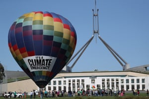 Climate protest on the front lawns of Parliament House Canberra last week