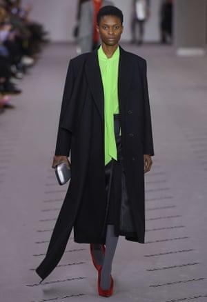 Big shoulders at the Balenciaga show, AW17, Paris fashion week.