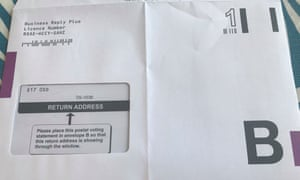 A European election postal ballot with the incorrectly positioned address.