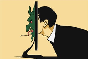 illustration of a man peering through a computer screen in profile and his face transforming into that of a demon